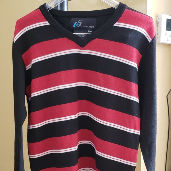 Boys Striped Jumper Red and Grey, White and Black